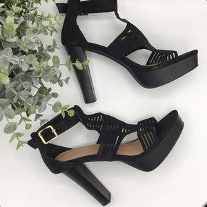 Top Moda faux black T-strap platform heels